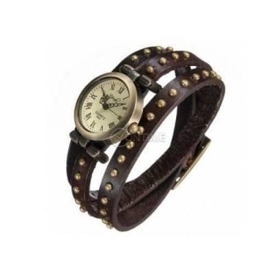 Кожена Ретро Дамска гривна часовник Vintage стил
