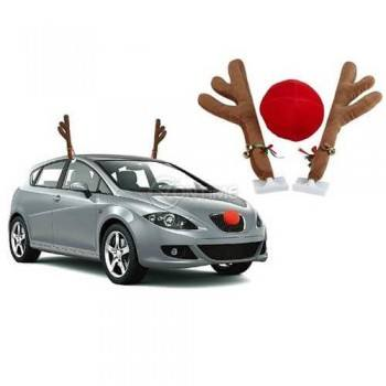 Коледна украса за кола - еленски рога и червено носле