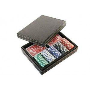 Покер комплект с 100 чипа и две тестета карти + луксозна кожена кутия