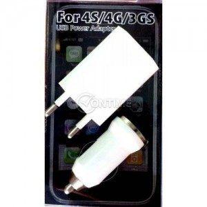 Зарядно устройство за iPhone 3GS / 4G / 4S комплект 220V / 12V