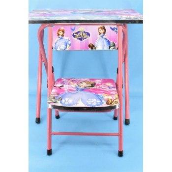 Сгъваема детска маса със столче и цветен дизайн Принцеса София