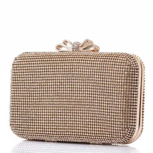 0cfd5131c38 ᐉ Бутикова златиста дамска чанта тип клъч с камъни на топ цена - Онтайм