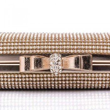 Бутикова златиста дамска чанта тип клъч с камъни