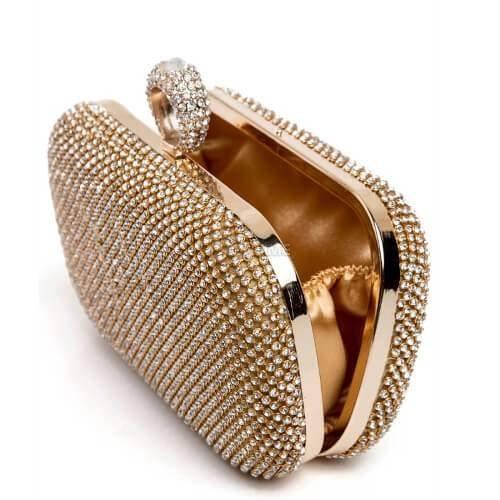 cac2d13610d ᐉ Дамска чанта клъч с камъни на топ цена - Онтайм