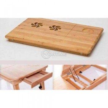 Масичка за лаптоп за легло от бамбук
