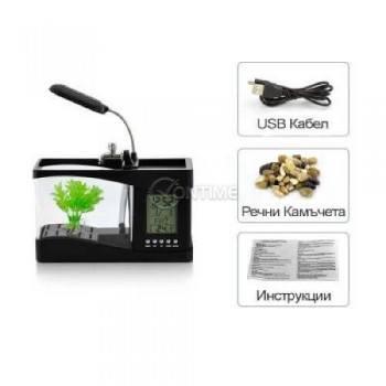 Органайзер за бюро с часовник и LED аквариум с лампа