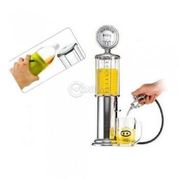 Атрактивен диспенсър с форма на ретро бензинова колонка с маркуч