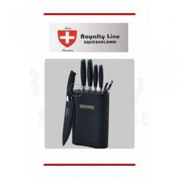 Стилен черен комплект ножове със стойка и белачка на Royalty Line