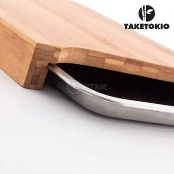 Дъска за рязане от бамбук с вградена тава