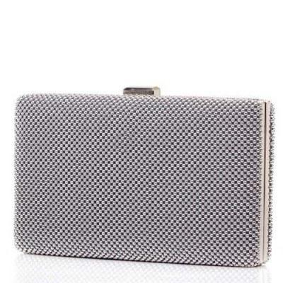 Сребриста малка дамска чанта клъч с правоъгълна форма