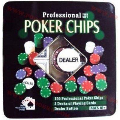 Чипове за покер 100 броя и 2 тестета карти