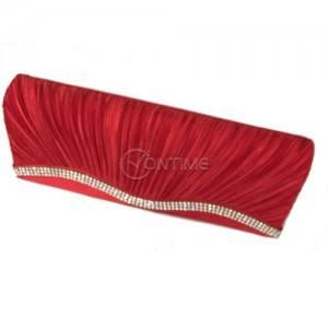 Чанта плик в червен цвят с камъни