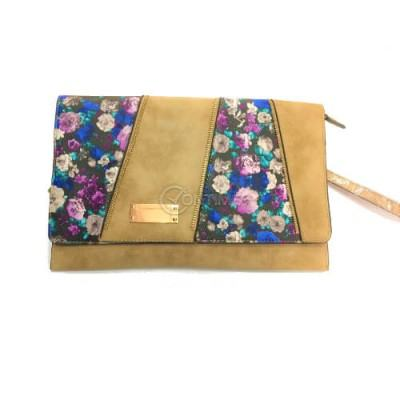 Велурена чанта плик с цветя