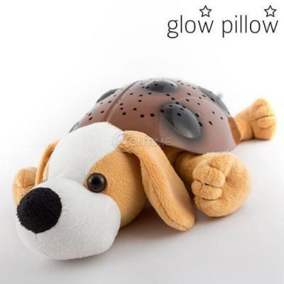 Детска лампа плюшено куче Glow Pillow с LED проектор за звездно небе