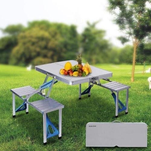 52039b29d23 ᐉ Къмпинг маса сгъваема с пейки за четири човека на топ цена - Онтайм