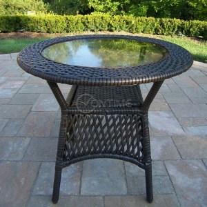 Градинска ратанова маса със стъклен плот
