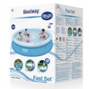 Bestway Fast Set кръгъл сглобяем басейн 3.66 x 0.76 метра с надуваем ринг борд