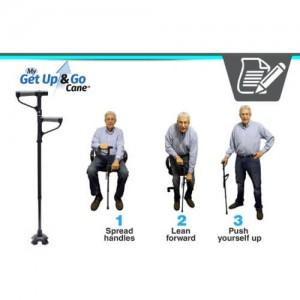 Сгъваем бастун с фенер за лесно изправяне и сядане