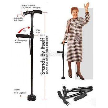 Сгъваем бастун с фенер за лесно изправяне и сядане Twin Grip Cane