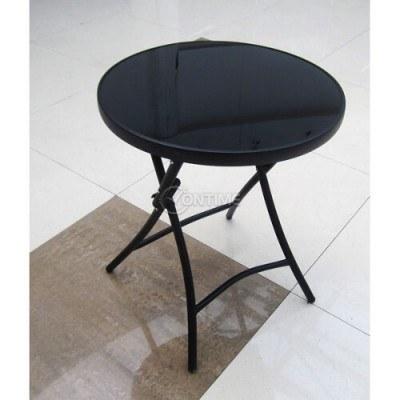 Сгъваема маса за тераса или градина с черно стъкло