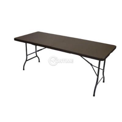 Правоъгълна сгъваема къмпинг маса за кетъринг с размери 180 х 80 см