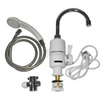 Нагревател за вода със смесителна батерия и гъвкава връзка с душ слушалка