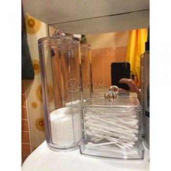 Комплект кутии за съхранение на тампони за грим и клечки за уши