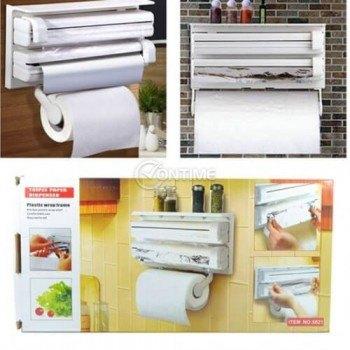 Поставка за кухненска хартия и фолио с три отделения