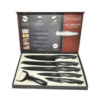 Комплект кухненски ножове и белачка Royalty Line RL-CB5 Line в стилен черен цвят