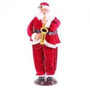 Коледна украса електрически Дядо Коледа 180см танцуващ и свирещ на саксофон