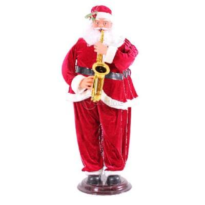 Коледна украса електрически Дядо Коледа танцуващ и свирещ на саксофон