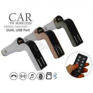 FM трансмитер с блутут за кола 2 х USB SD дистанционно