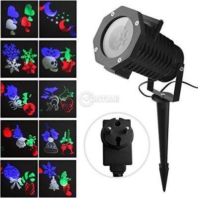 LED прожектор със сменяеми лещи с мотиви Хелоуин / Коледа