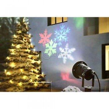Коледен led лазер прожектиращ разноцветни снежинки