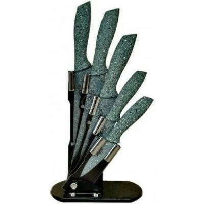 Кухненски ножове с мраморно покритие и поставка