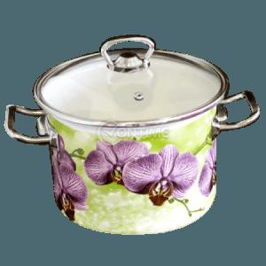 Емайлирана тенджера 5.5 литра Орхидея