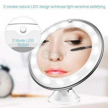 Огледало за грим с LED светлина и увеличение 10Х - захващане чрез вакуум