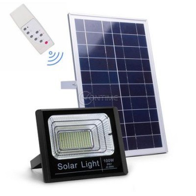 Градински соларен LED комплект, соларен панел, LED прожектор, Дистанционно управление, 40 W
