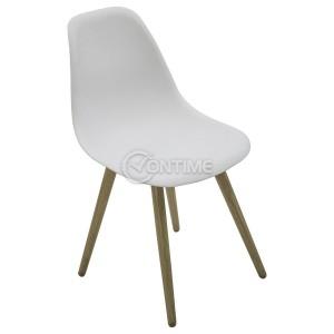 Бял градински стол скандинавски стил с дървени крака