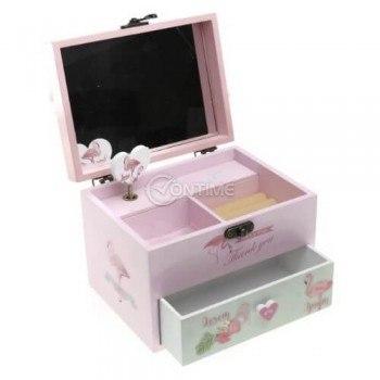 Дървена музикална кутия за бижута Фламинго