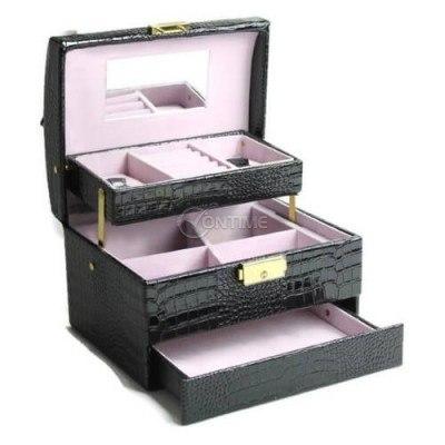 Черна кожена кутия за бижута