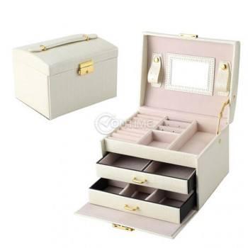 Кутия-куфар за бижута, 3 отделения, огледало