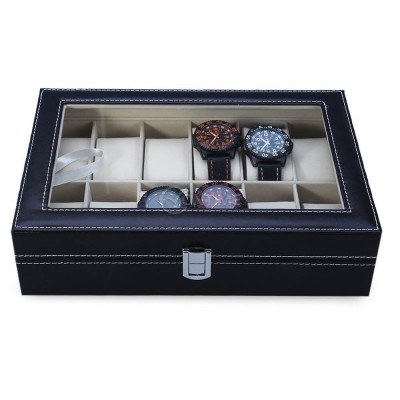 Кутия за съхранение на часовници 12 отделения, еко кожа