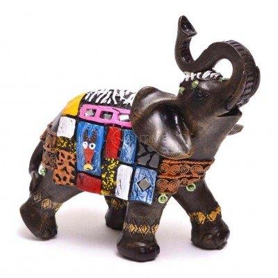 Декоративна статуетка слонче с шарено седло 14 x 14 cm