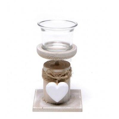 Свещник със сърце и чашка за свещи