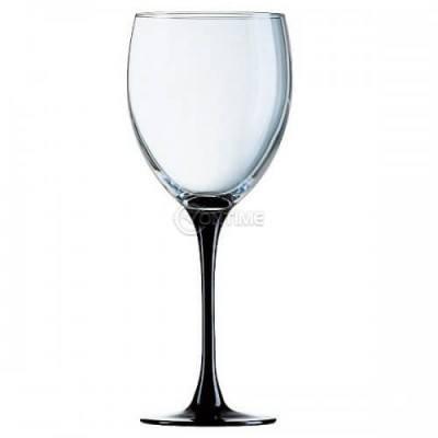 Чаша за вино 6 броя, черно столче 330 мл