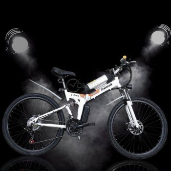 Електрически велосипед - сгъваем, бял и черен цвят