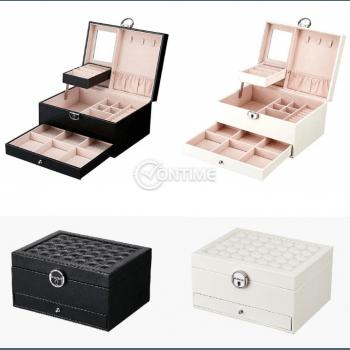 Луксозна кутия-куфар за бижута и козметика на две нива