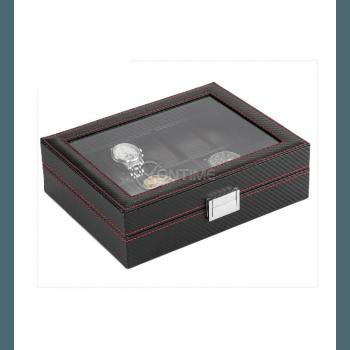 Кутия за часовници - карбон с 10 отделения