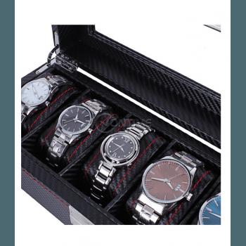 Кутия за часовници карбон с 6 отделения